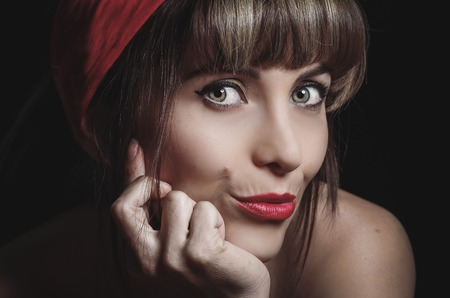Portrait of beautiful sexy retro girl with red lips Stock Photo