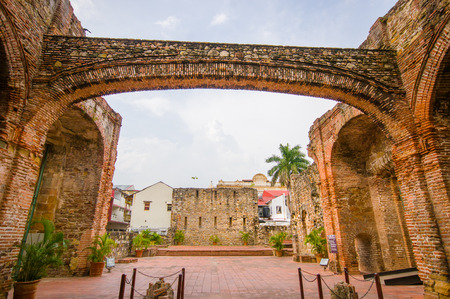 Arco Chato in historic old town in Panama city 写真素材