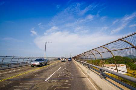 across: Bridge of the Americas across The Panama Canal