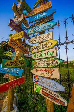 bay area: distance signpost on a caribean island Stock Photo