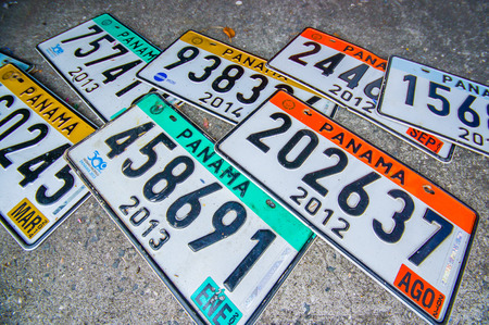 licence: PANAMA, PANAMA - APRIL 15, 2015: Licence plates Souvenirs for sale in the Paza Francia in Pamama city