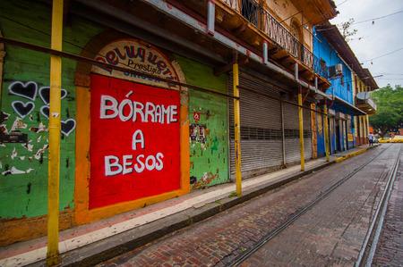 viejo: PANAMA, PANAMA - APRIL 16, 2015:  Street view of the recentry restaurated historic quarter of Panama City, known as Casco Viejo.