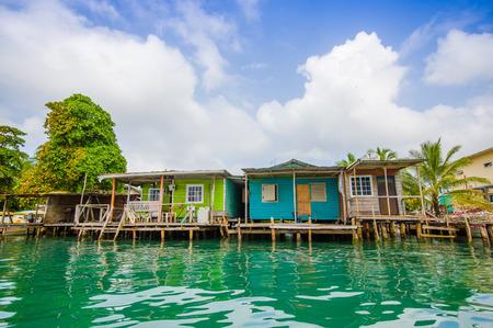 bocas del toro: BOCAS DEL TORO, PANAMA - APRIL 23, 2015 : Bocas Town, a pier and oceanview, comprising an archipelago off the Caribbean coast. Editorial