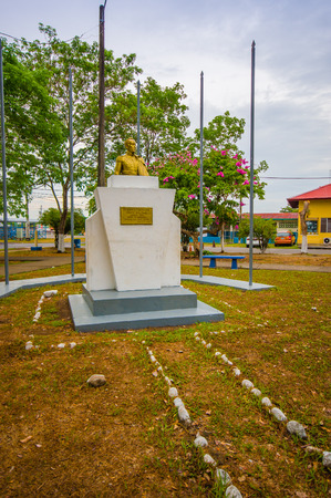 DAVID, PANAMA - APRIL 10, 2015: Simon Bolivar statue in David, a city and corregimiento located in the west of Panama. It is the capital of the province of Chiriqui.