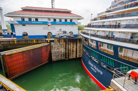 colon panama: COLON, PANAMA - APRIL 15, 2015: Gatun Locks, Panama Canal. This is the first set of locks situated on the Atlantic entrance of the Panama Canal.