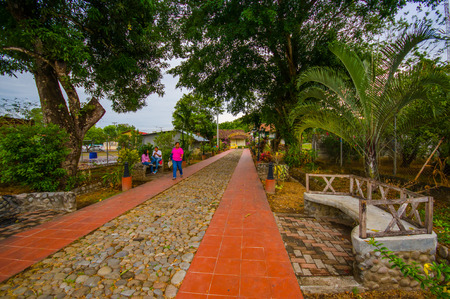 DAVID, PANAMA - APRIL 10, 2015: Local Park of San Jose de David, a corregimiento located in the west of Panama. It is the capital of the province of Chiriqui