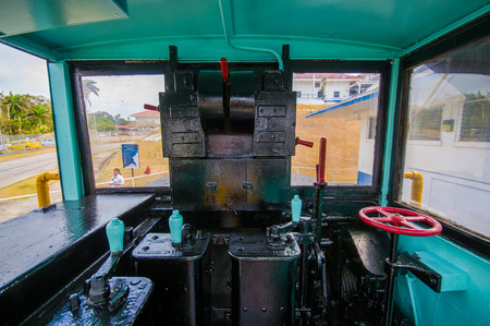 mule train: COLON, PANAMA - APRIL 15, 2015: Gatun Locks, Panama Canal. Interior of an old Canal Mule Train.