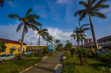 COLON, PANAMA - APRIL 14, 2015 : Colon is a sea port on the Caribbean Sea coast of Panama. The city lies near the Caribbean Sea entrance to the Panama Canal.