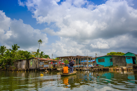 comprising: BOCAS DEL TORO, PANAMA - APRIL 23, 2015 : Bocas del Toro  province of Panama comprising an archipelago off the Caribbean coast.