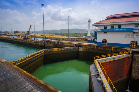 COLON, PANAMA - APRIL 15, 2015: Gatun Locks, Panama Canal. This is the first set of locks situated on the Atlantic entrance of the Panama Canal.