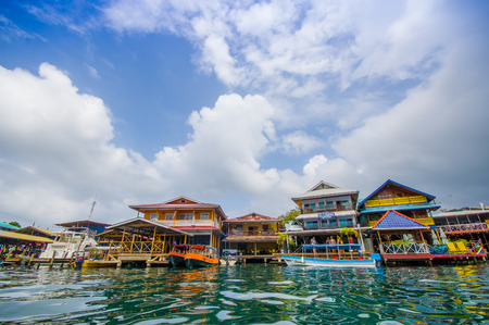 panama city beach: BOCAS DEL TORO, PANAMA - APRIL 23, 2015 : Bocas del Toro is the capital of the province. This city is located on Isla Colon.