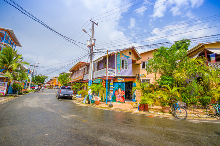 PANAMA, PANAMA - APRIL 16, 2015:  Street view of Isla Colon which is the most populated island in the Bocas del Toro archipelago, and the capital of the Bocas del Toro province. Editorial
