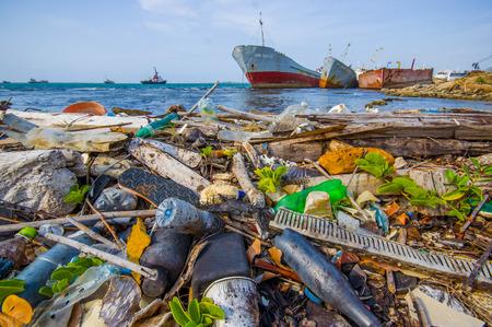 corales marinos: COLON, PANAMÁ - 15 de abril, 2015: Contaminación Ambiental lavado en tierra junto al Canal de Panamá en la playa