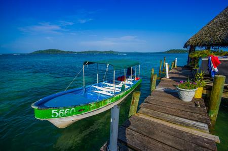 panama city beach: BOCAS DEL TORO, PANAMA - APRIL 23, 2015 : Bocas Town, a pier and oceanview, comprising an archipelago off the Caribbean coast. Editorial