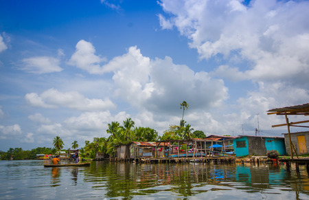 emanating: BOCAS DEL TORO, PANAMA - APRIL 23, 2015 : Bocas Town, a hub for dining, shopping and nightlife, with reggae music emanating from open-air bars