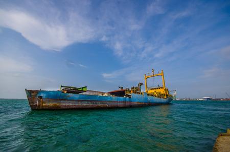 COLON, PANAMA - APRIL 15, 2015: Boats in the harbor of Colon in Panama Editorial