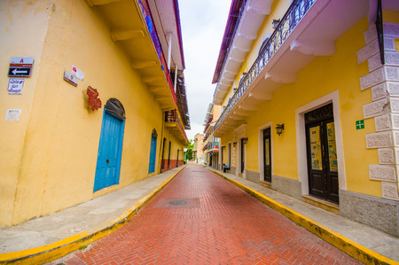 viejo: PANAMA, PANAMA - APRIL 16, 2015:  Street view of the recentry restaurated historic quarter of Panama City, known as Casco Viejo.