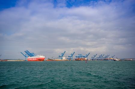 colon panama: COLON, PANAMA - APRIL 15, 2015: Boats in the harbor of Colon in Panama Editorial