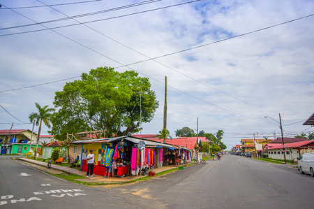bocas del toro: BOCAS DEL TORO, PANAMA - APRIL 23, 2015 : Bocas Town, a hub for dining, shopping and nightlife, with reggae music emanating from open-air bars