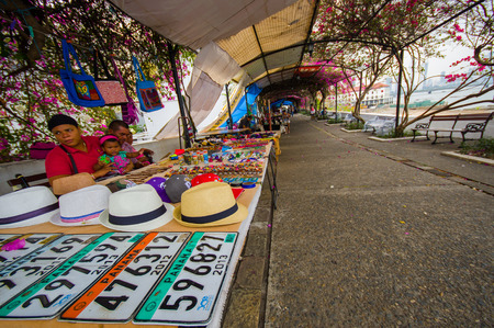 swanky: PANAMA, PANAMA - APRIL 15, 2015: Souvenirs for sale in the Paza Francia in Pamama city