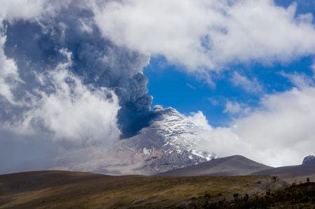 stratovolcano: Amazing view of active Cotopaxi volcano erupting in Ecuador, South America
