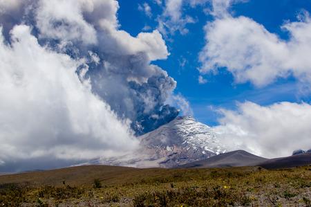 impressive: Impressive and beautiful active Cotopaxi volcano erupting in Ecuador, South America Stock Photo
