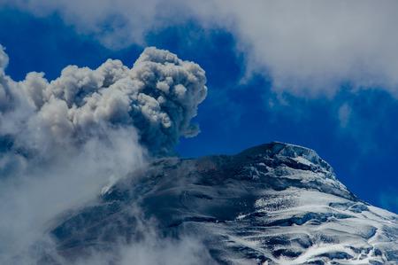 erupting: Amazing view of active Cotopaxi volcano erupting in Ecuador, South America