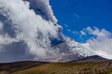 erupting: Beautiful view of magnificent Cotopaxi volcano erupting in Ecuador, South America