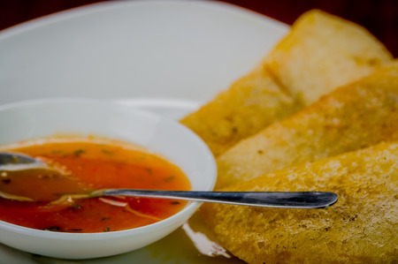 traditionally american: White plate with three delicious empanadas lined up and small bowl of red salsa on top.