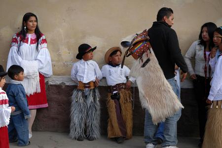 solstice: PICHINCHA, ECUADOR - JUNE 28, 2008: Unidentified locals celebrating Inti Raymi solstice celebrations