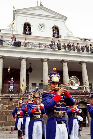 anthem: QUITO, ECUADOR - MARCH 3, 2014: Changing of the Guard, Presidential Palace in Quito, Ecuador Editorial
