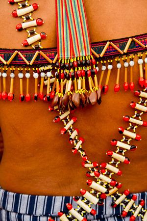 body jewelry: Body jewelry belonging to members of Shuar indigenous community in Ecuador