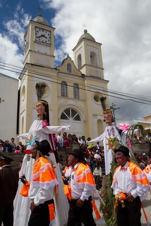 solstice: PICHINCHA, ECUADOR - JUNE 27, 2011: Unidentified locals in solstice parade at Inti Raymi indigenous celebration in Alangasi, Ecuador Editorial