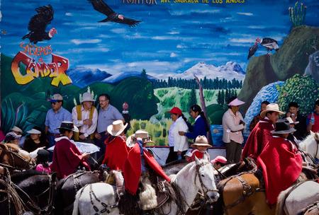 festividades: PICHINCHA, ECUADOR - 10 de octubre de 2010: Desconocida ind�genas locales que celebran fiestas locales en Pintag