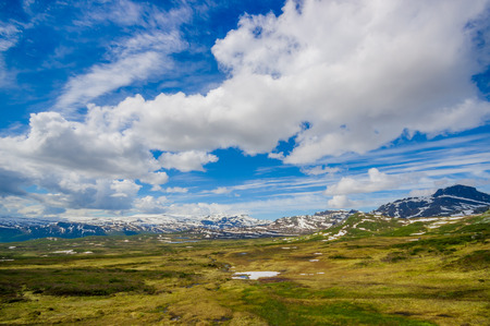 as far as the eye can see: VALDRES, NORWAY - 6 JULY, 2015: Stunning nature on Valdresflya, green covered landscape stretches far as eye can see with spots of snow and lakes under beautiful blue sky.