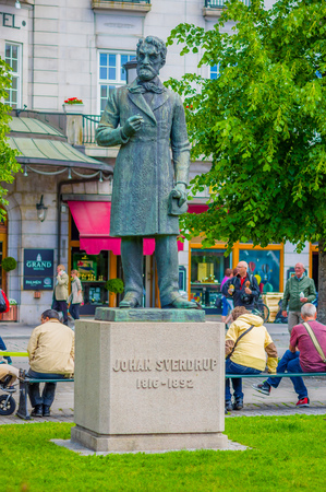 parliamentary: OSLO, NORWAY - 8 JULY, 2015: Statue of first Norwegian parliamentary prime minister Johan Sverdrup, located in Karl Johansgate.