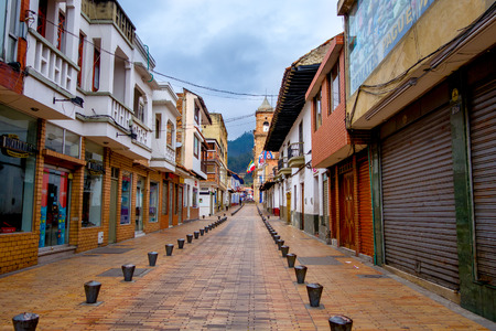 ZIPAQUIRA, COLOMBIA - FEBRUARY 3, 2015: Beautiful historic city center at Zipaquira, commercial area, located in the middle of Colombia, 48 km from Bogota. Sajtókép