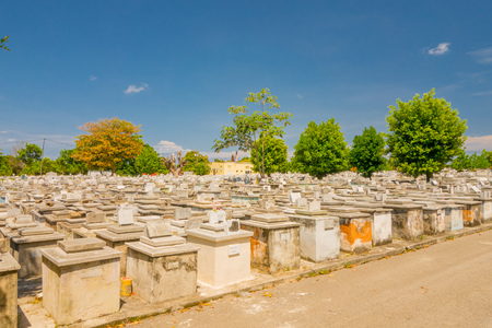 cristobal colon: HAVANA, CUBA - SEPTEMBER 1, 2015:The Colon Cemetery, or more fully in the Spanish language Cementerio de Cristobal Colon, was founded in 1876 in the Vedado neighbourhood of Havana