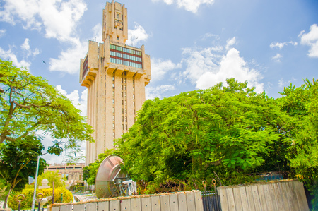 nicknamed: HAVANA, CUBA - AUGUST 30, 2015: The Russian embassy in the Minamar district in Havana, Cuba, Nicknamed Stalin s Tooth. Built during the Cold War.