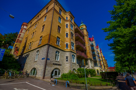 gothenburg: GOTHENBURG, SWEDEN - JUNE 21, 20015: Beautiful classic architecture in Gothenburg city downtown