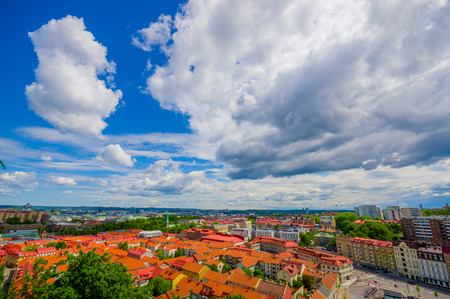gothenburg: Beautiful high angle view of  Gothenburg city downtown on a summer day