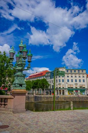gothenburg: GOTHENBURG, SWEDEN - JUNE 21, 20015: Beautiful scene of Gothia river in Gothenburg city downtown
