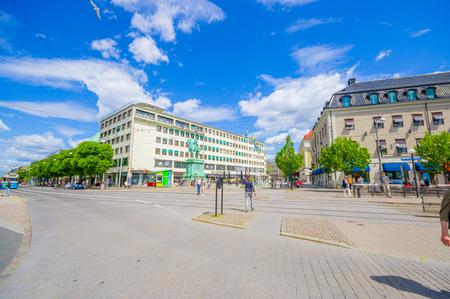 gothenburg: GOTHENBURG, SWEDEN - JUNE 21, 20015: Kungsporten square with the statue of Karl IX, Gothenburg city downtown