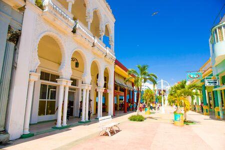 capitolio: CIEGO DE AVILA, CUBA - SEPTEMBER 5, 2015: Walking boulevard with stores in Downtown of Ciego de Avila.  The city has a population of about 86,100.