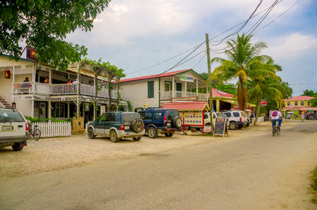 PLACENCIA, BELIZE - APRIL 10, 2014: Relaxing caribbean town of Placencia, Belize