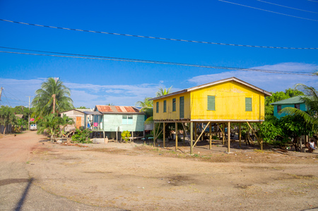 colrful: beautiful colorful houses in the town of placencia, belize