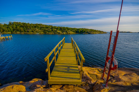 sweden resting: Beautiful landscape of a dock in the west coast of Sweden during the summer