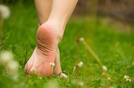marche pieds nus sur l'herbe Gros plan, belle couleur verte. Banque d'images