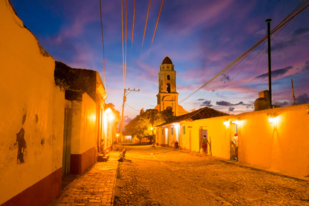 TRINIDAD, CUBA - SEPTEMBER 8, 2015: Night shot. The Cuban city of Trinidad is one of the countrys most charming locations Editorial