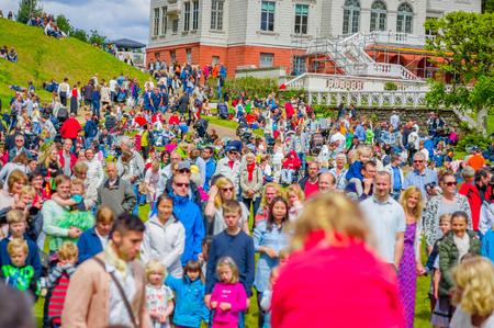 gothenburg: GOTHENBURG, SWEDEN - JUNE 19, 2015: Theatrical performance during Midsummer celebration in Gunnebo Castle